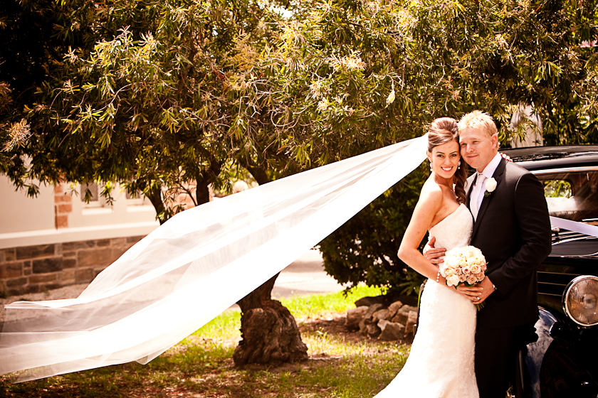 Wedding Photography Long Veil in the wind St Lawrence's Church North Adelaide