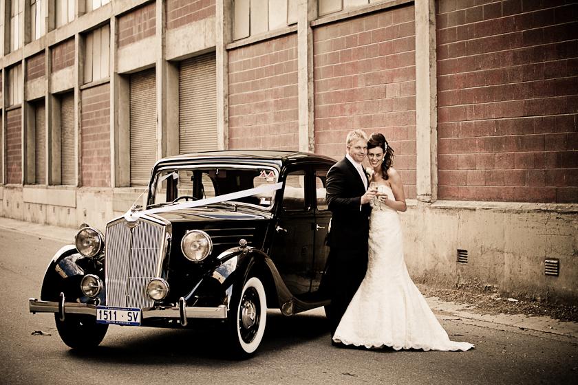 Port Adelaide Wedding Photography rustic warehouses vintage car