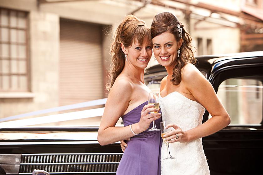 Port Adelaide Wedding Photography rustic warehouses vintage car bridesmaids