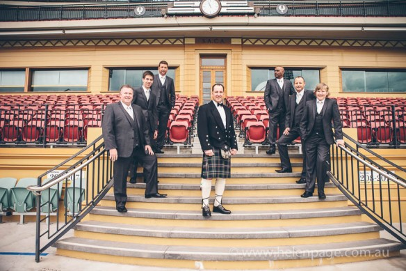 Groom and groomsmen on the Adelaide Oval Grandstand before the wedding at Adelaide Oval