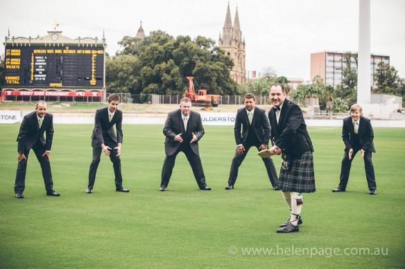 wedding at adelaide oval groomsmen playing cricket before the wedding