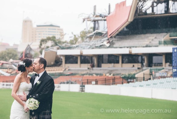 Bride and Groom at Adelaide Oval during demolition