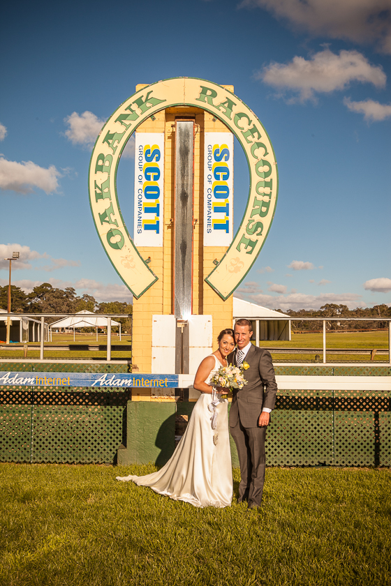 Bride and Groom at the Winning post Oakbank Racecourse, Adelaide Hills Wedding