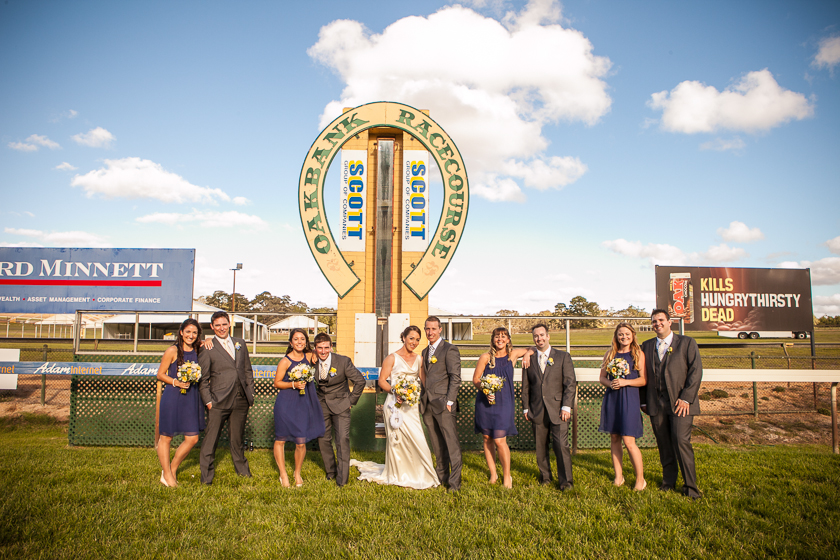 Bridal Party Winning post Oakbank Racecourse, Adelaide Hills Wedding