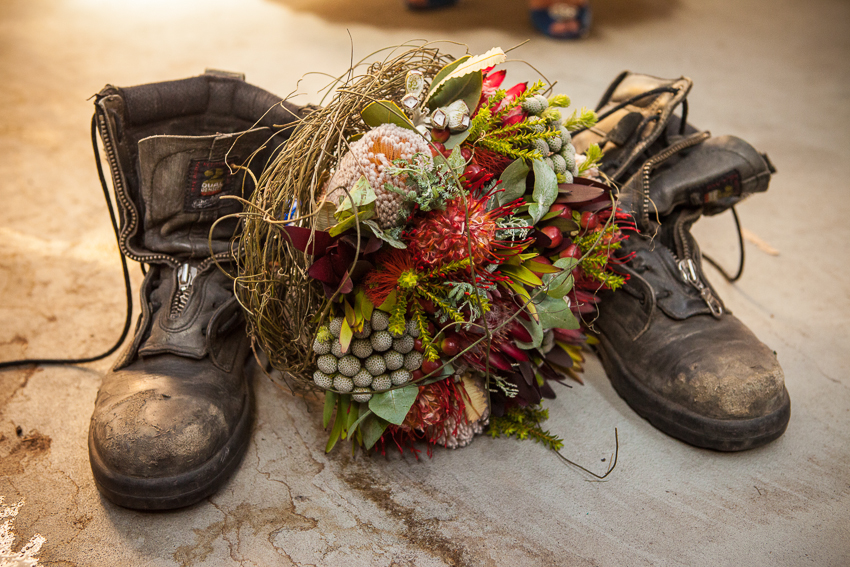 Bridal Bouquet with fire fighting boots