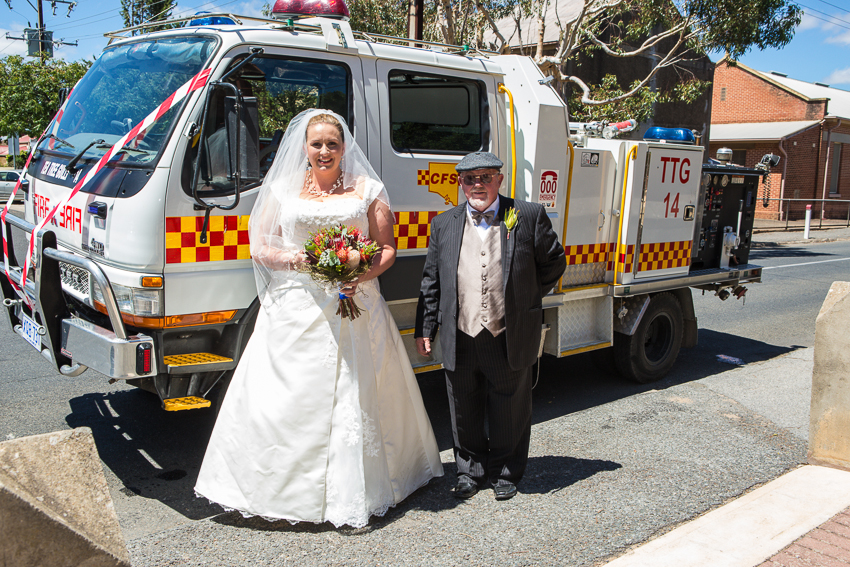Ss Peter Paul Church Gawler Bride arrives in Firetruck Wedding Photography
