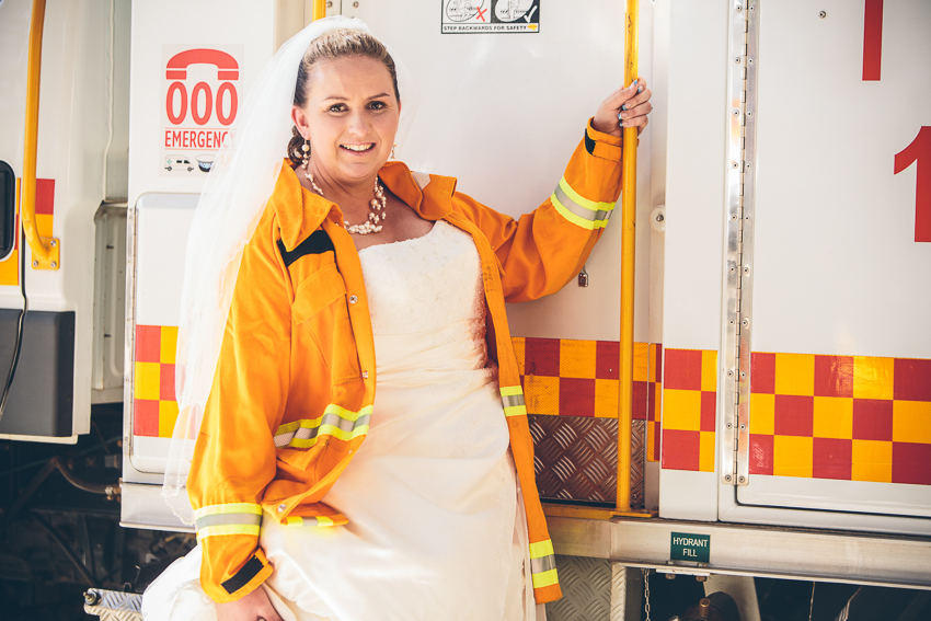 Wedding Photography at CFS, at Tea Tree Gully, Fire Fighter Bride